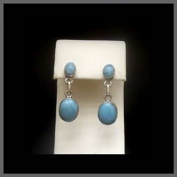 Double Stone Larimar Earrings